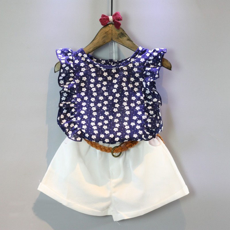 Hot selling children s clothing the little girl s clothes floral sleeveless T shirt shorts suits
