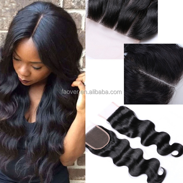 "Swiss Lace Top Closure Human <strong>Hair</strong>, Free/Middle/Three Part Malaysian Closure, Natural Color Body Wave 4x4"" Brazilian <strong>Hair</strong> Closure"