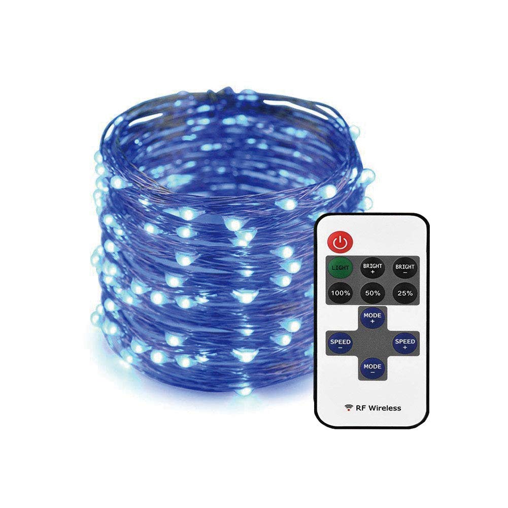 XUNATA 33ft String Lights with Remote Control, 100LED Waterproof Decorative Dimmable Silver Wire Lights for Indoor, Outdoor, Christmas Holiday(Blue)