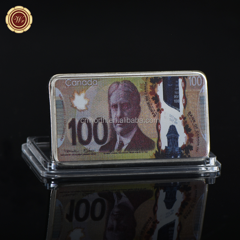 WR Home Decor 100 Canadian Dollar Commemorative Bar Wholesale Canada Silver Plated Challenge Bullion for Business Gifts