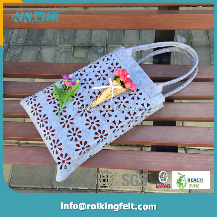 2016 Wholesale promotional handmade polyester cheap shopping tote customizable pumpkin felt bag