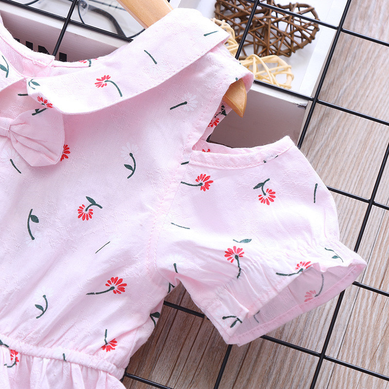 S64887A Fashion Sweet baby floral printed Cotton summer Girls Dress