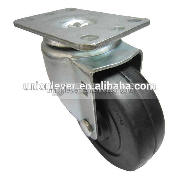 Swivel 4 inch plate leveling caster wheels solid rubber wheel