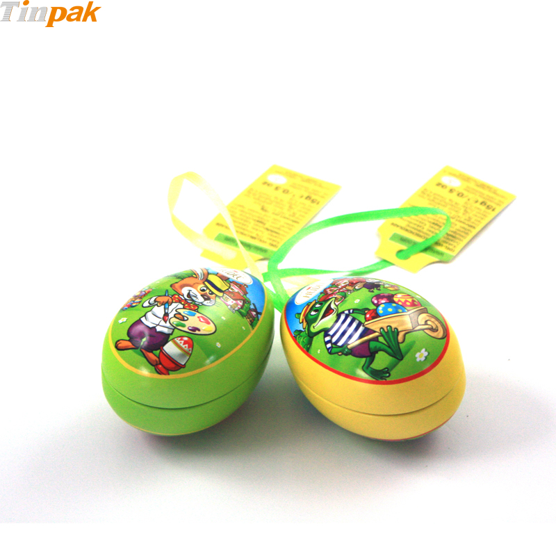 Custom printed vantage metal Easter Egg Tin for candy packaging