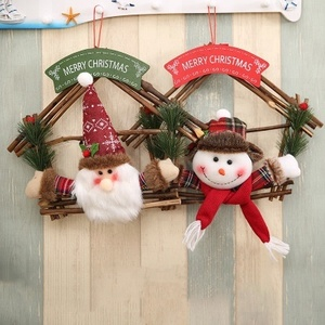 wholesale rattan ring hanging Christmas wooden decorations Santa Claus snowman christmas garland