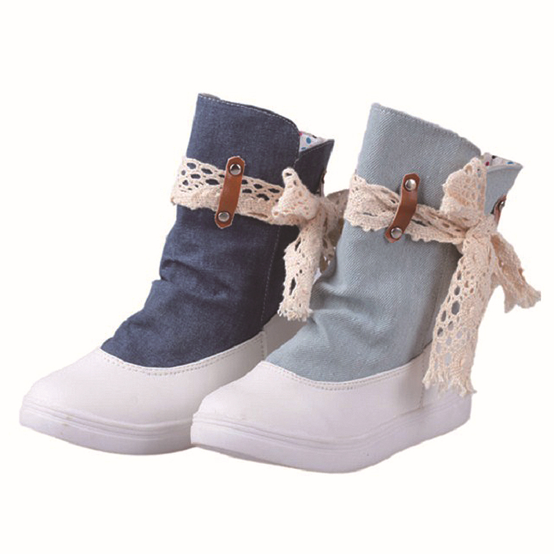 0703b3e5d373a Get Quotations · Women Winter Canvas Round Toe Boots Shoes Ladies Sweet Lace  Bow Boots Ankle Boots STAL