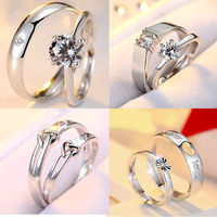 High quality S925 promotional wedding zircon diamond rings for lovers couple