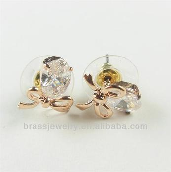 Diffe Types Simple Beautiful Fashion New Design Crystal 24k Gold Plated Earring Stud