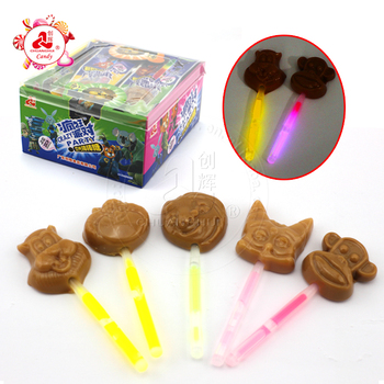 Zootopia Animals Fluorescent Lollipop , Glow Stick Chocolate Lollipop