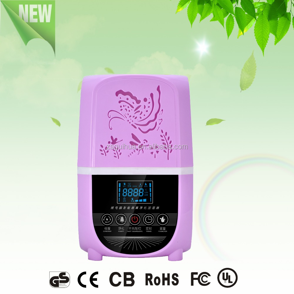 Delicate life Romantic purple Tablable/Portable Low noise LCD Digital Display Touch control Ultrasonic Air Humidifier