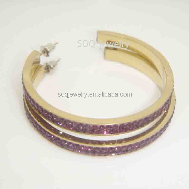 SE480410047 Nolbel Purple Czech Crystal Earrings with Gold Plated Stainless Steel High Quality Jewelry