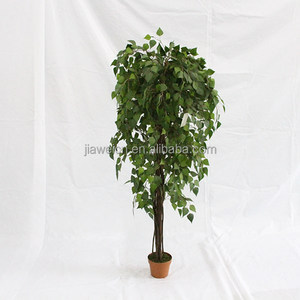 artificial small leaves trees wooden trunk for house decoration
