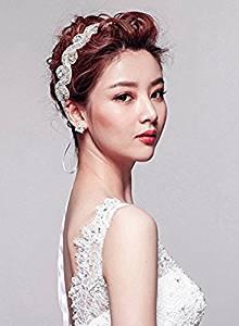 Elegent Luxury Handmade Crystal Rhinestone Jewelry Beads Bridal Wedding Evening Pageants Proms Birthday Christmas Gift Headband Satin Ribbon Hiarband Headwrap Hair Band Accessory White