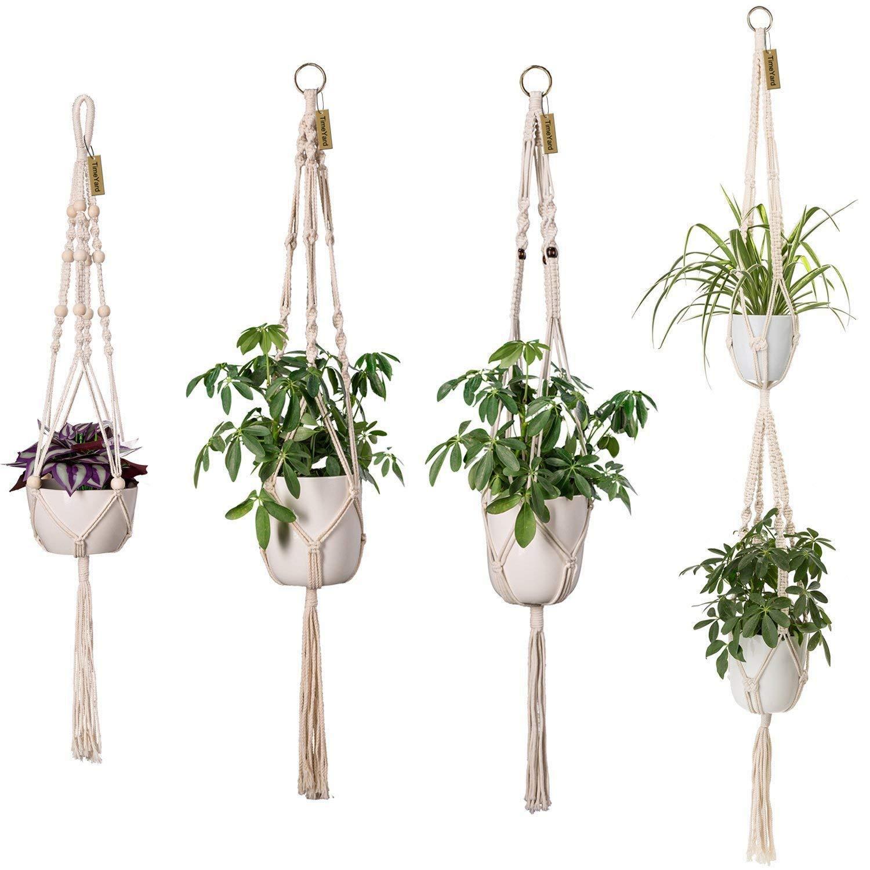 Kind-Hearted Plant Hangers Indoor Wall Hanging Planter Holder Basket Flower Pot Holder Handmade Cotton Rope 4 Legs Boho Home Decor Home & Garden