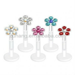 Unique Bioflex Flower Labret Stud Lip Stud