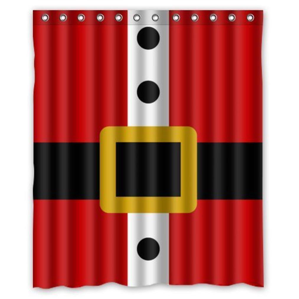 Shower Curtain Santa Belt Waterproof Polyester Fabric Bathroom Decor RedWhite