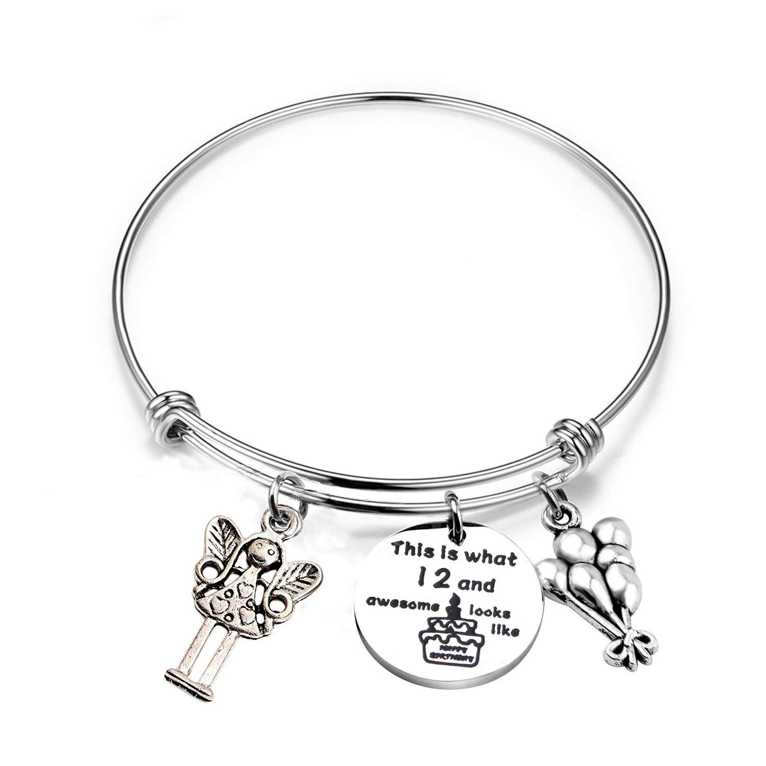 RQIER Birthday Gifts for Her Expandable Birthday Charm Bracelet 12th Sweet 16 18th 21st Ideas