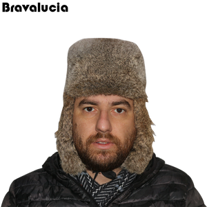 e1285ddf312 Customized winter warm fur Grass rabbit Lei Feng Cap russian style fur hat  for men