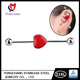 Red Heart Shape bar ear Piercing Jewelry Industrial Barbell Earring wholesale for woman gift