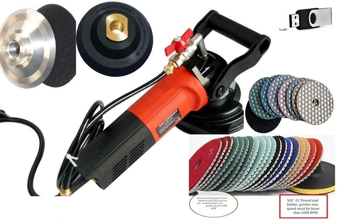 "Wet Polisher Stone Maintenance DVD 4"" Diamond Wet Dry Polishing Pad 36 Pieces 9 Extra Carbon Brushes granite marble concrete lapidary terrazzo floor grinder sander masonry repair tile renew countertop"