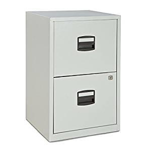 Bisley Two Drawer Steel Home Filing Cabinet, Light Gray (FILE2-LG)