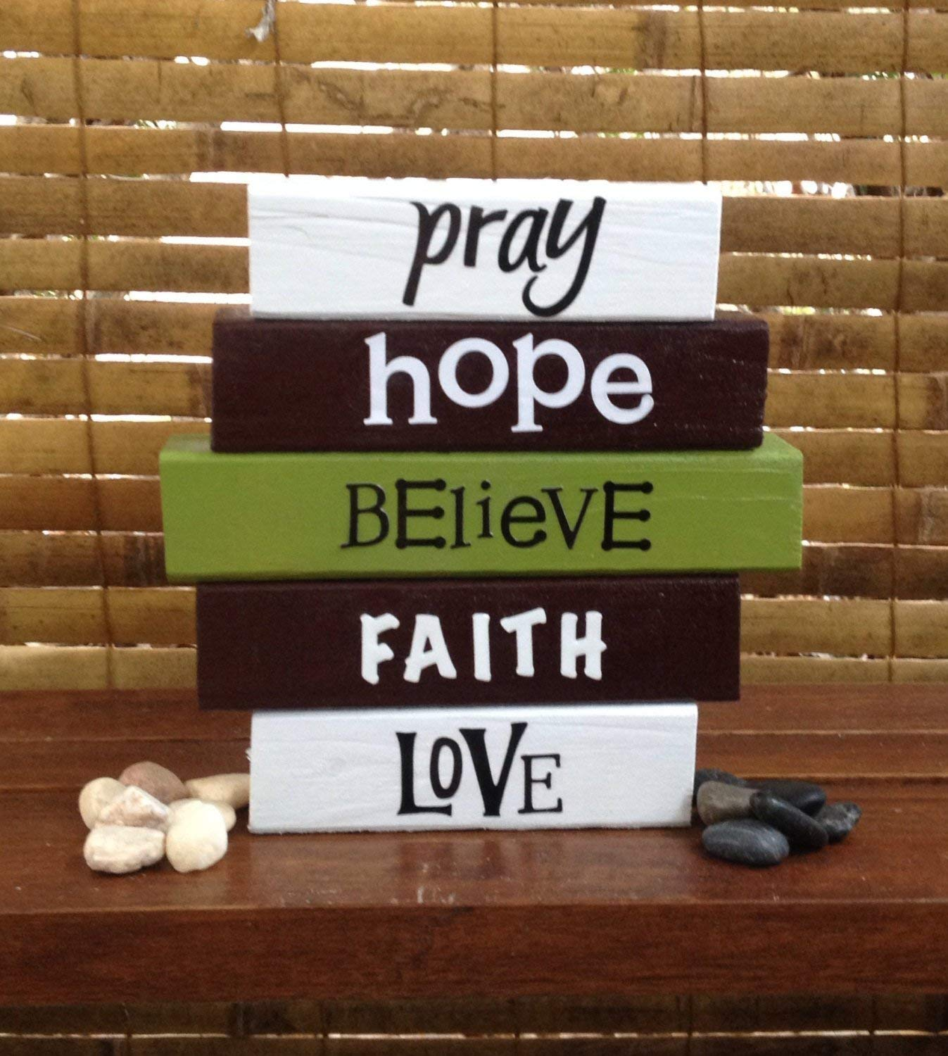 FAITH WORD BLOCK SET! Wood word stacking block set for home, office, and religious decor