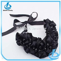 Wholesale fashion handmade black fabric covered bead necklace black stone knot choker jewelry