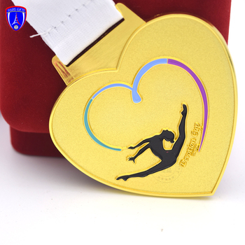 UK custom soft enamel gold plated heart shaped muay thai medal for devotion cup