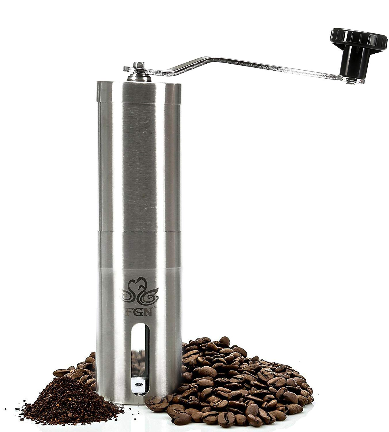 FGN Professional Stainless Steel Manual Coffee Grinder,portable Mini Coffee Mill with Heavy-duty Hand Crank, Convenient for Home, Travel and Comping Use