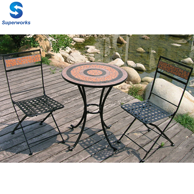 Outdoor Furniture Mosaic Table Metal Folding Chair Table Sets   Buy Folding  Metal Table Chair Set,Coffee Table Set,Garden Leisure Furniture Product On  ...