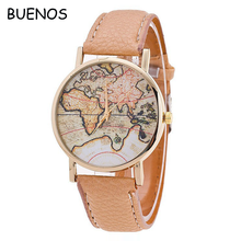 Hot Selling World Map PU leather Watches Women Fashion Watch