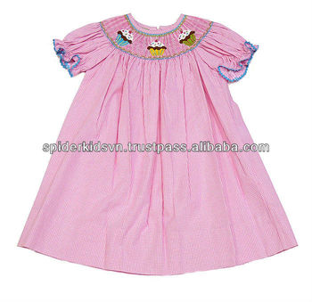 3997a6793bc6 Baby Girl Pink Gingham Smocked Cute Cupcake Bishop Dress - Buy Girls ...