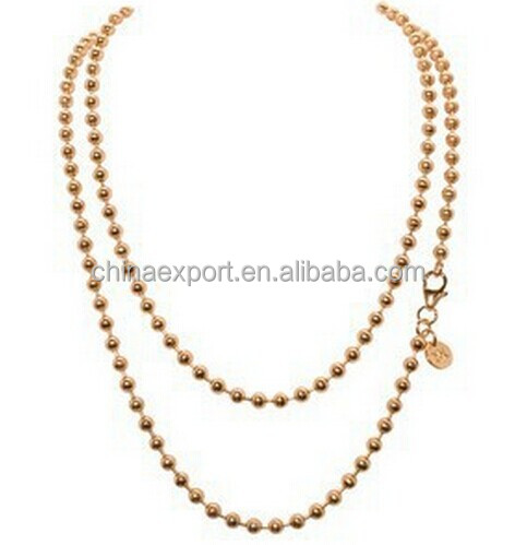Hot Selling Ball Chain for locket Necklace Coin Pendant 80cm Gold Silver Rose Gold