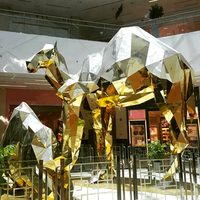 Indoor decor stainless steel geometric shape large chrome golden camel sculpture for supermarket