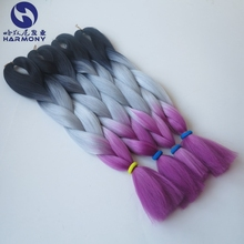 "Stock 24"" fold 100g ombre black&gray&pink jumbo braid hair ombre synthetic braiding hair"