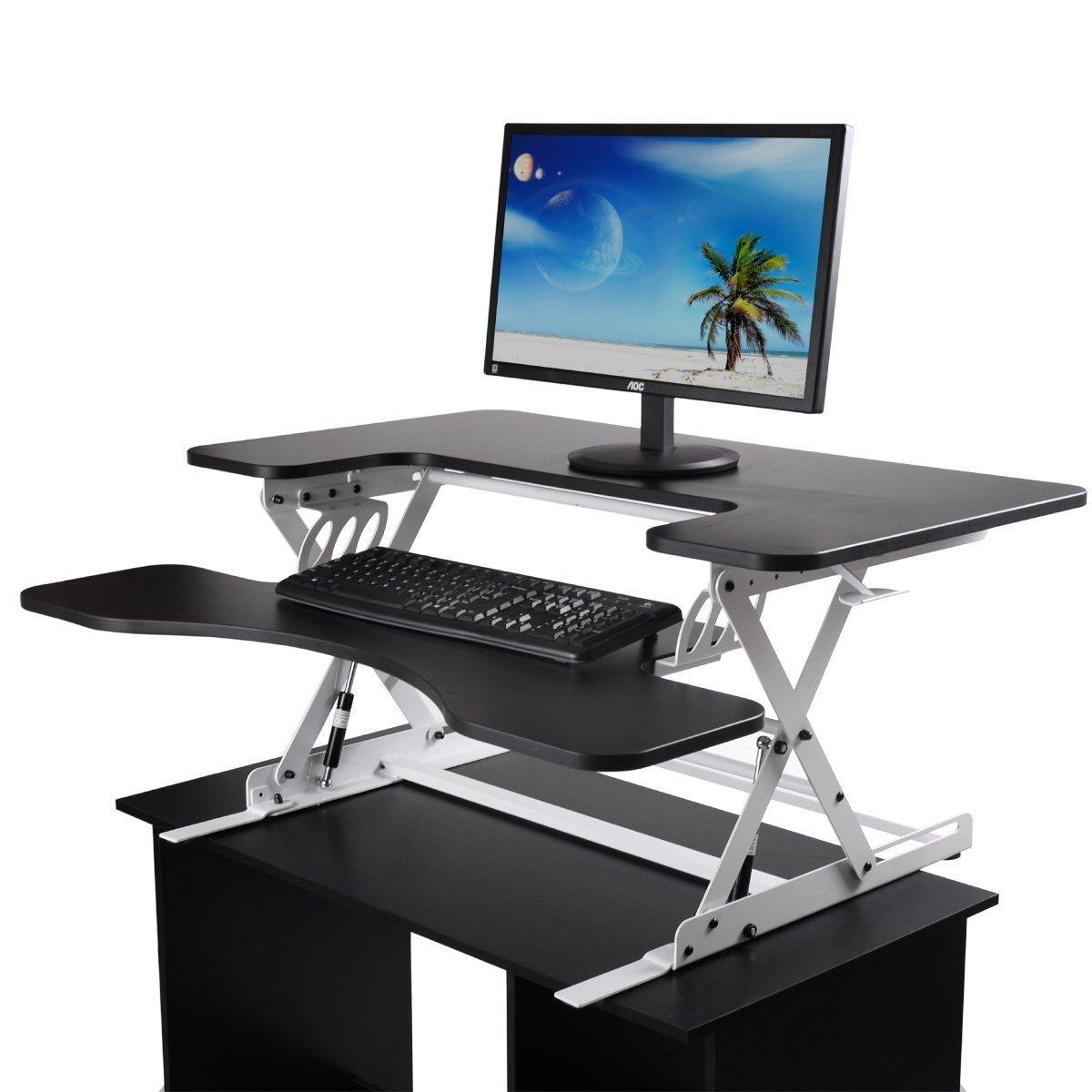 "LAZYMOON Ergonomic 36""Wide Preassembled Height Adjustable Standing Desk Riser/ Stand Workstation Elevating Desktop Removable Keyboard Tray, Black & White"