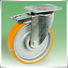Guangzhou Mingze 150MM PU on cast iron 4mm thick yoke wheels and casters