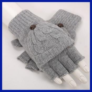 Knitted Knit Half Finger Warm Wooly Mens Fingerless Gloves Buy
