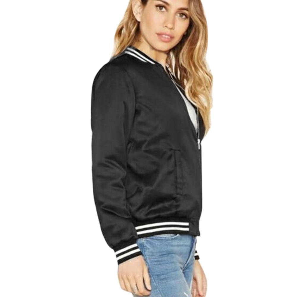 94dc3182d2bc Canserin Womens Classic Quilted Jacket Short Bomber Jacket Coat (L, Black
