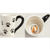 10 Oz White and Black Dog Coffee Mug with Small Puppy Inside Paw Prints Outside