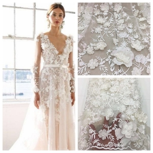 High quality white evening dress 3D fabric flower embroidery wedding bride dress lace fabric