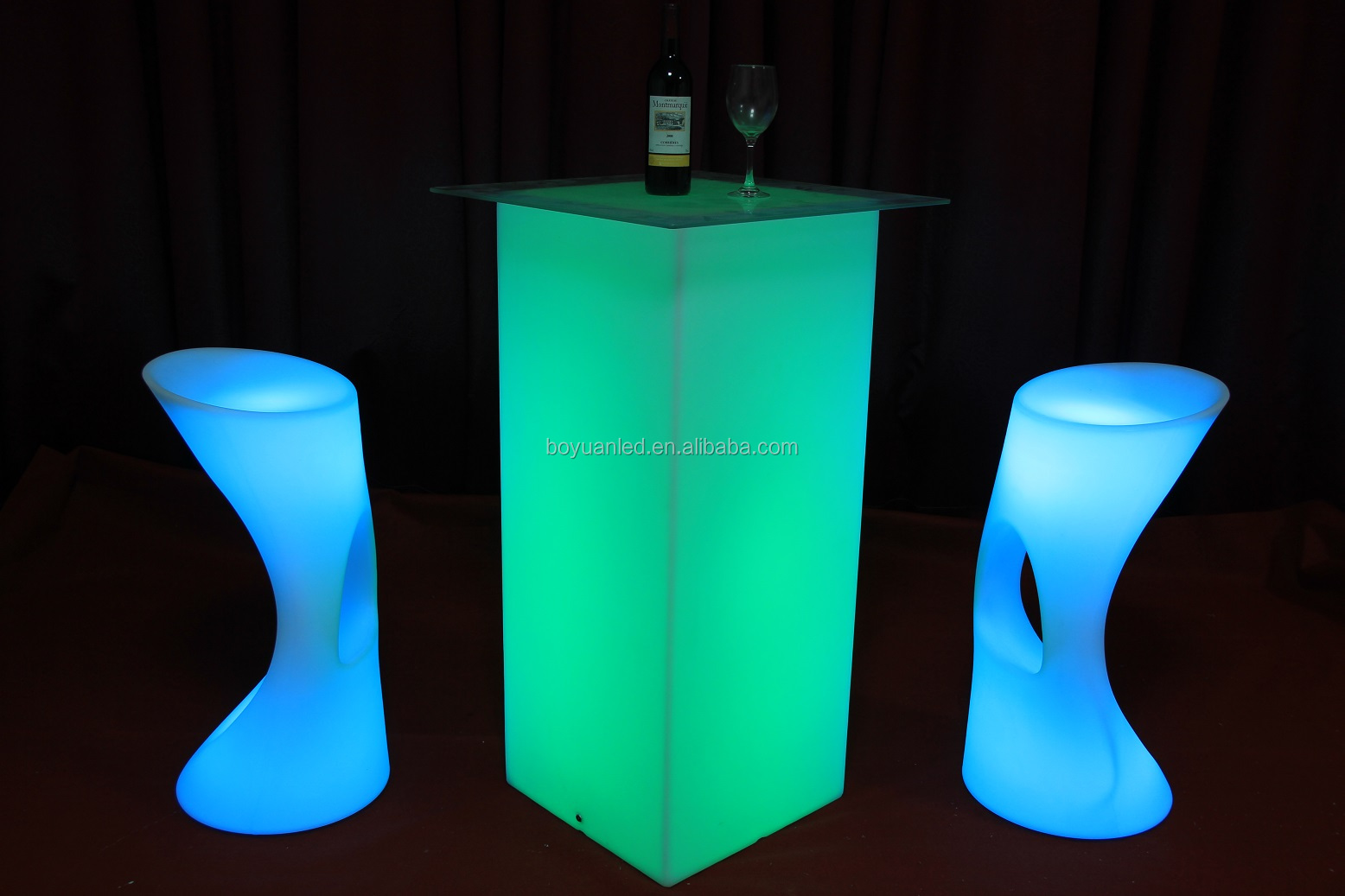 Led Light Stand Up Bar Tables High Cubic Table With