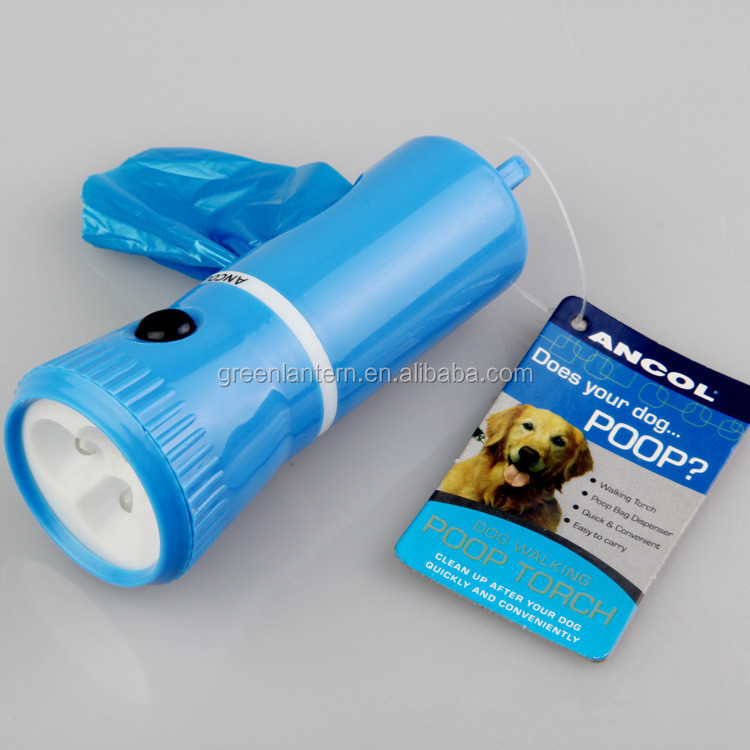 easy to carry outdoor blue led dog lamp with garbage waste bag