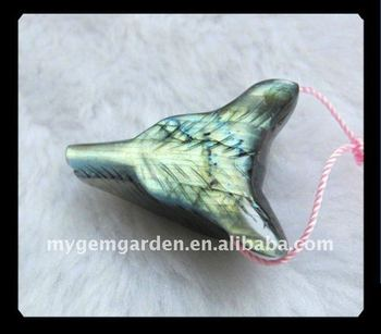 customized Carved cheap Labradorite Wolf Head Pendant Bead stone bead hot sale