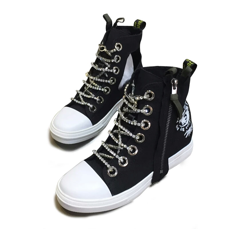 women's top head casual chain zipper Rhinestone high round shoes inlaid decorated qwCaxIZRg