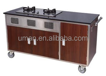 Hotel Mobile Kitchen Carts Flambe Cooking Cart