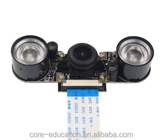 Raspberry Pi Night Vision Camera + 2pcs IR LED + 15cm FPC Camera Module for 5MP OV5647 Raspberry pi 3 Wide Angle Fish Eye Webcam