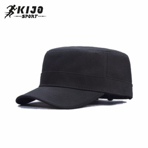 bd8471e14d1 Quality Flat Top Custom Made Embroidered Black Army Unisex Sun Caps  Military Peaked Cap