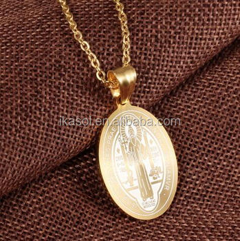 Catholic Religious Items Gold Jewelry Benedictine Cross Pendant