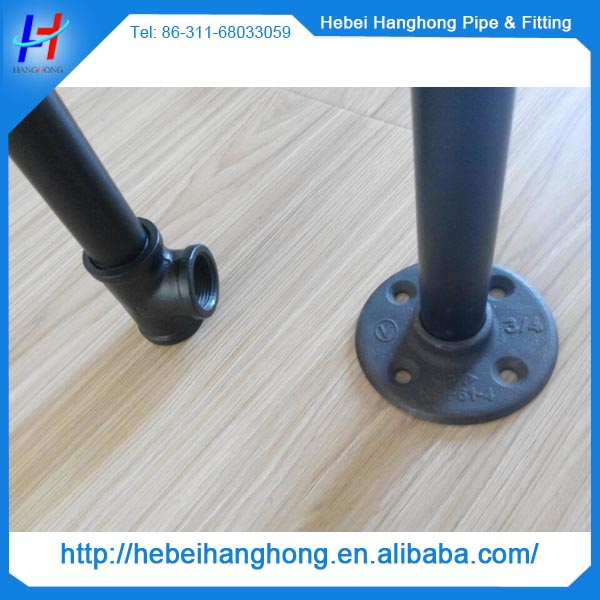 1/2 inch black pipe floor flange for cast iron park bench legs